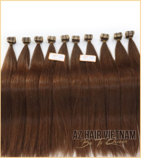 Tape In Hair Extensions Real Tape Hair Straight Brown Color Best Quality Wholesale Price List Human Hair Vietnam
