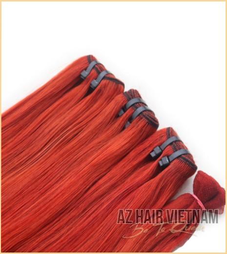 Weave Hair Straight Orange Mix Red Color Human Hair Vietnam
